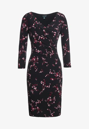 PRINTED MATTE DRESS - Day dress - black/parlor red