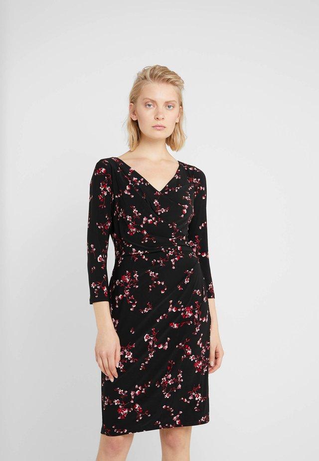 PRINTED MATTE DRESS - Vestito estivo - black/parlor red