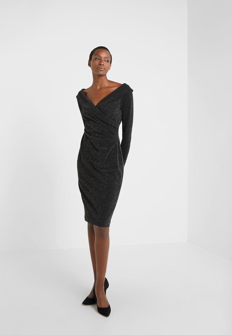 Lauren Ralph Lauren - METALLIC PONTE DRESS - Vestido de cóctel - black/silver
