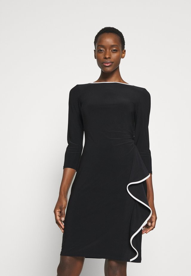 MID WEIGHT DRESS - Etui-jurk - black/cream