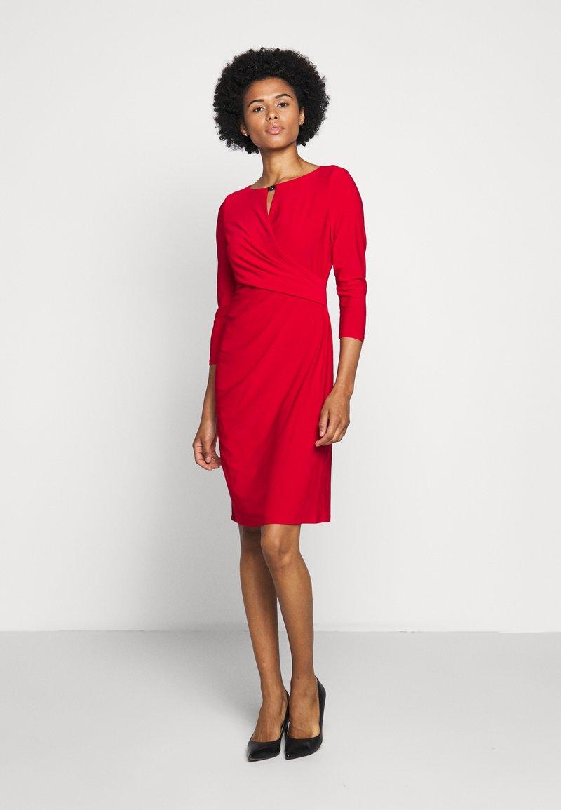 Lauren Ralph Lauren - MID WEIGHT DRESS TRIM - Shift dress - orient red
