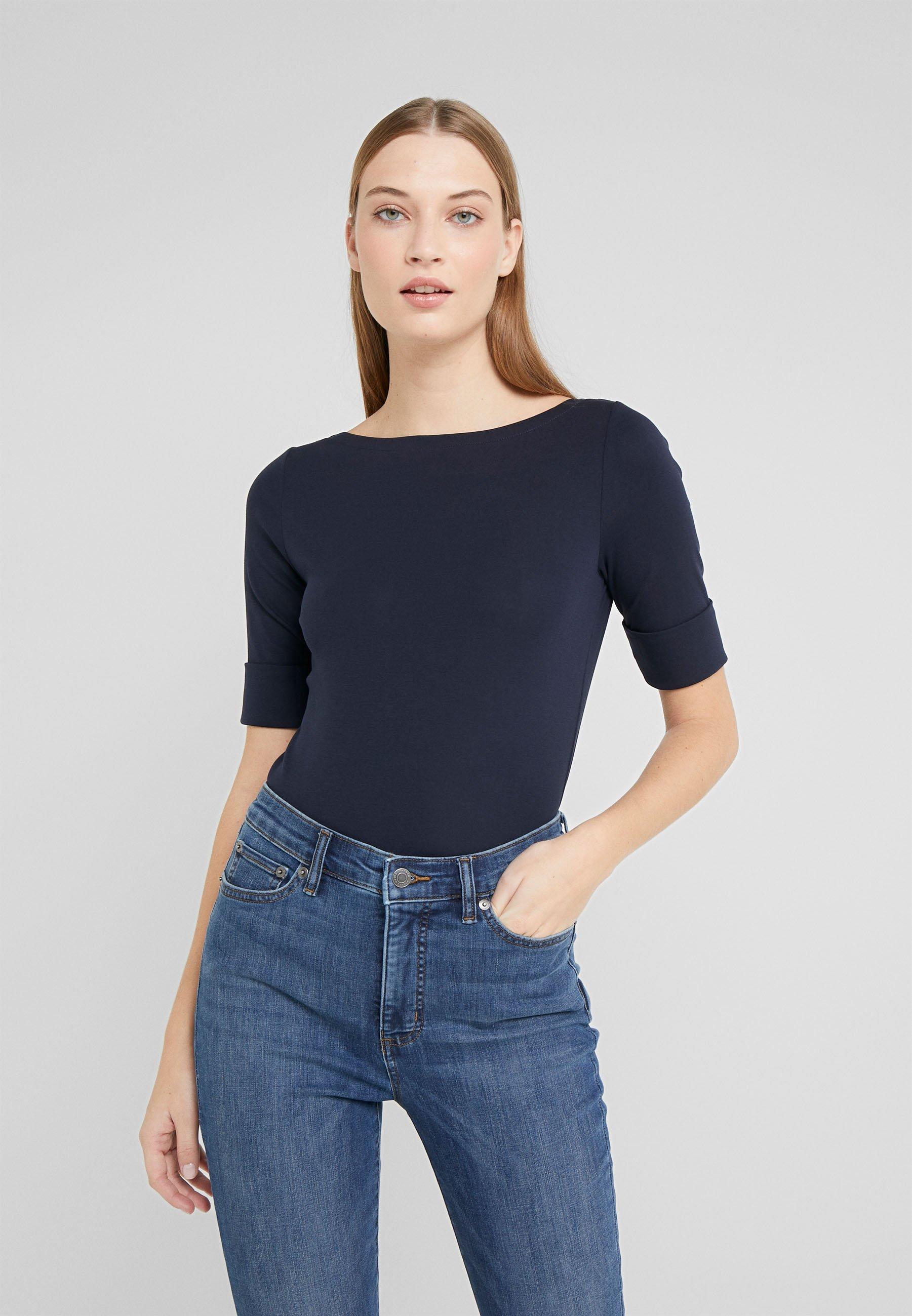 Lauren Ralph Lauren JUDY ELBOW SLEEVE - T-shirt basic - navy