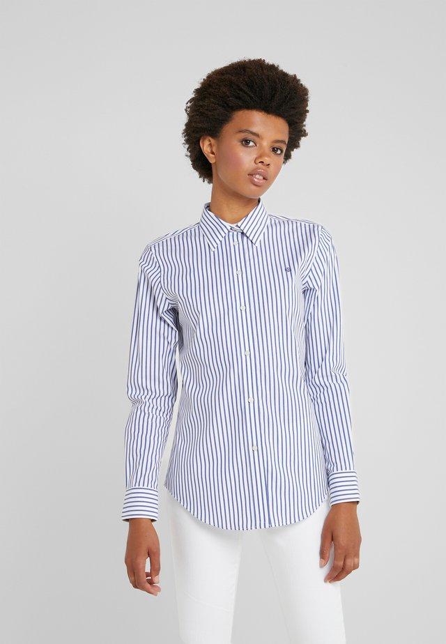 STRTCH NON IRON - Button-down blouse - white/blue