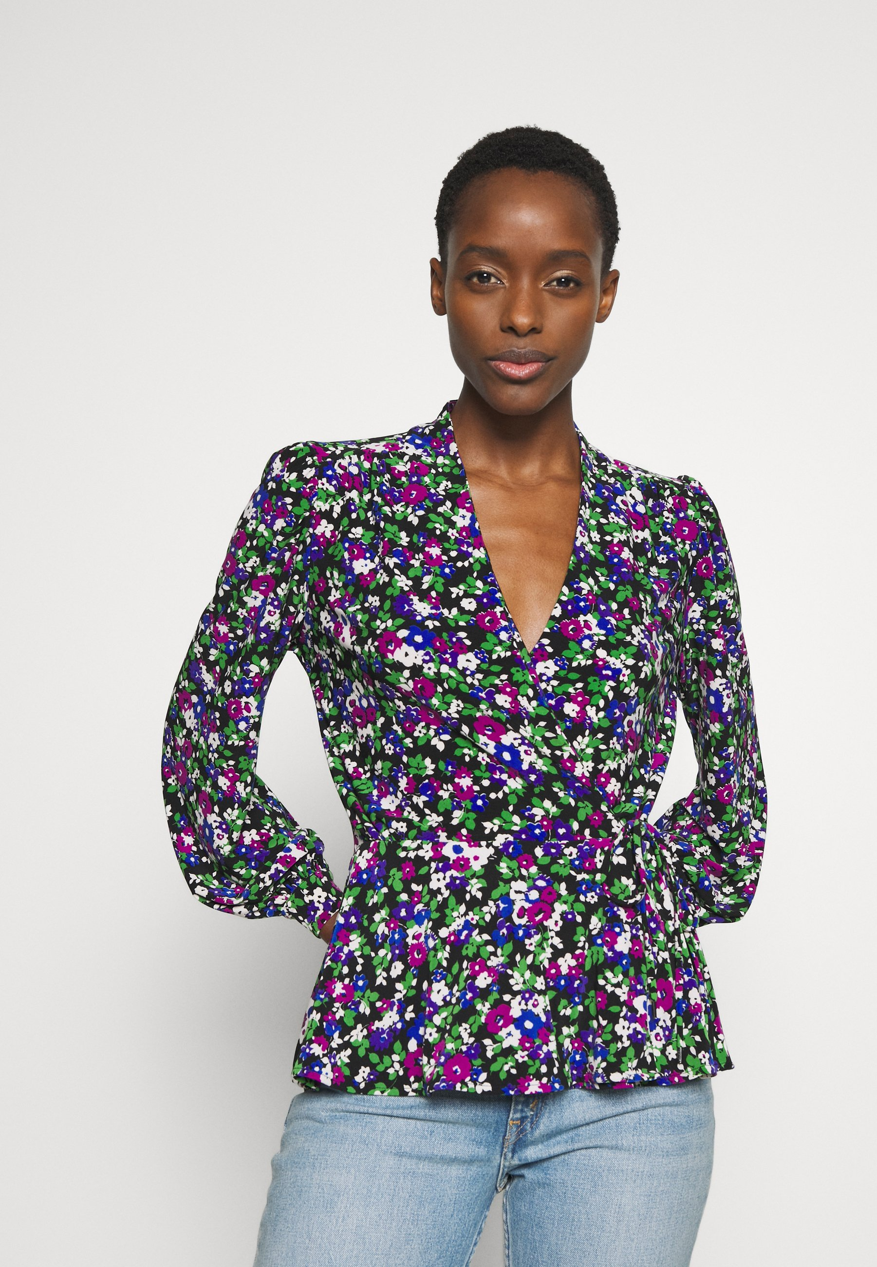 Lauren Ralph Lauren STRETCH - Bluzka - black/multi-coloured