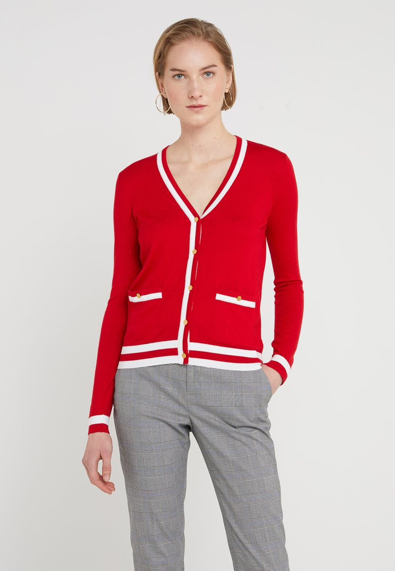 Lauren Ralph Lauren - THEA LONG SLEEVE SWEATER - Strikjakke /Cardigans - lipstick red/white
