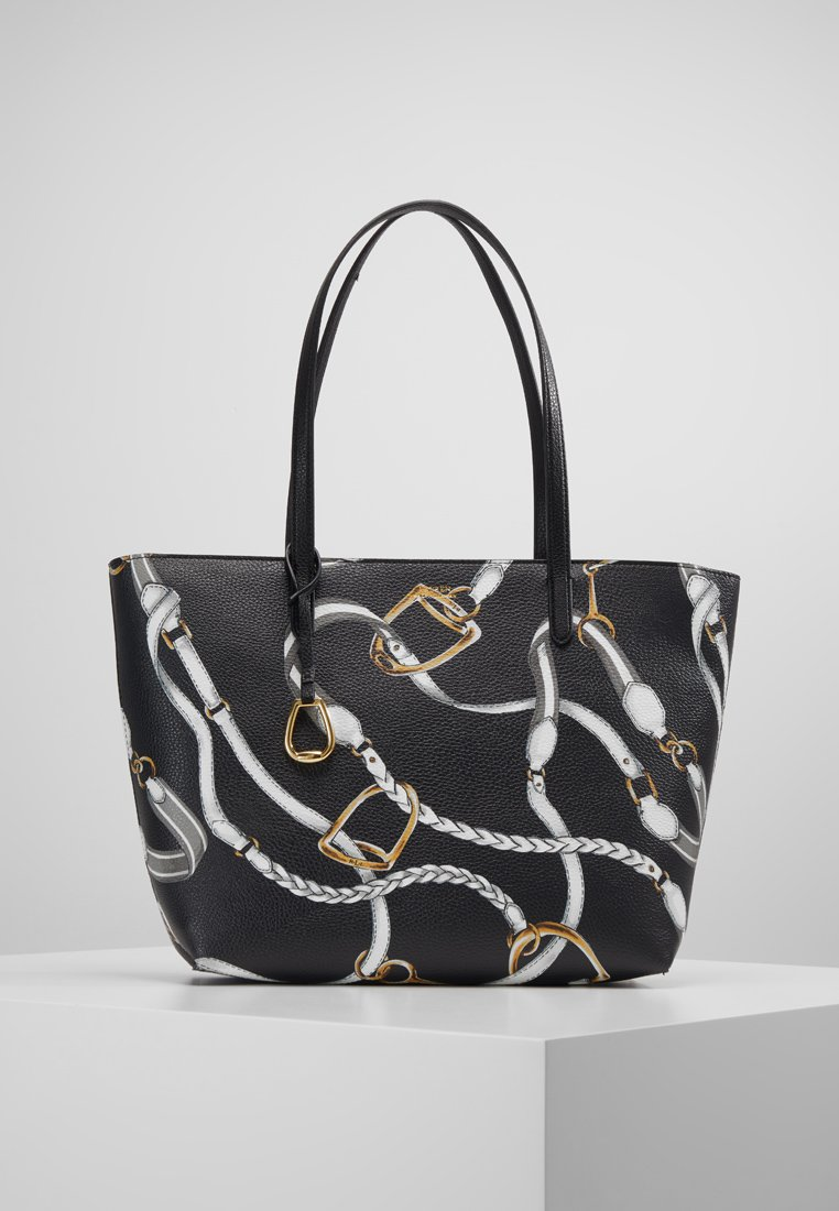 Lauren Ralph Lauren - VEGAN TOP ZIP TOTE - Håndtasker - black belting