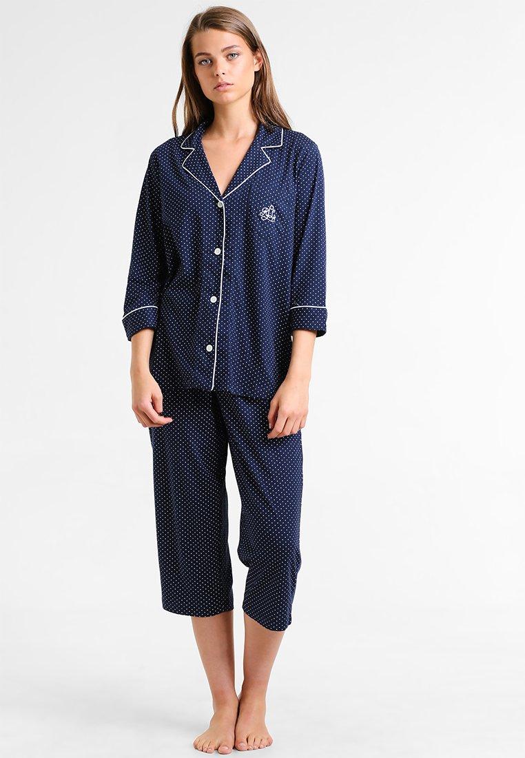 Lauren Ralph Lauren - HERITAGE 3/4 SLEEVE CLASSIC NOTCH COLLAR SET - Pyžamová sada - dot navy/white