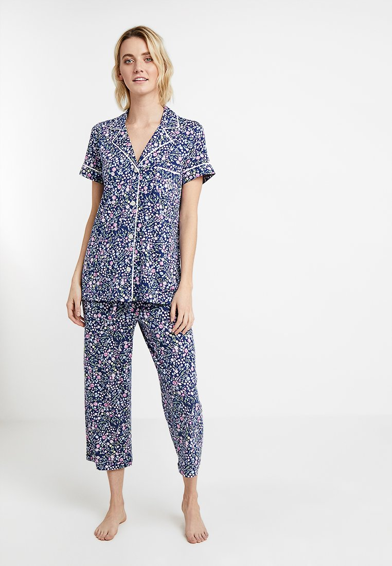 Lauren Ralph Lauren - NOTCH LONG PANT SET - Yöasusetti - navy