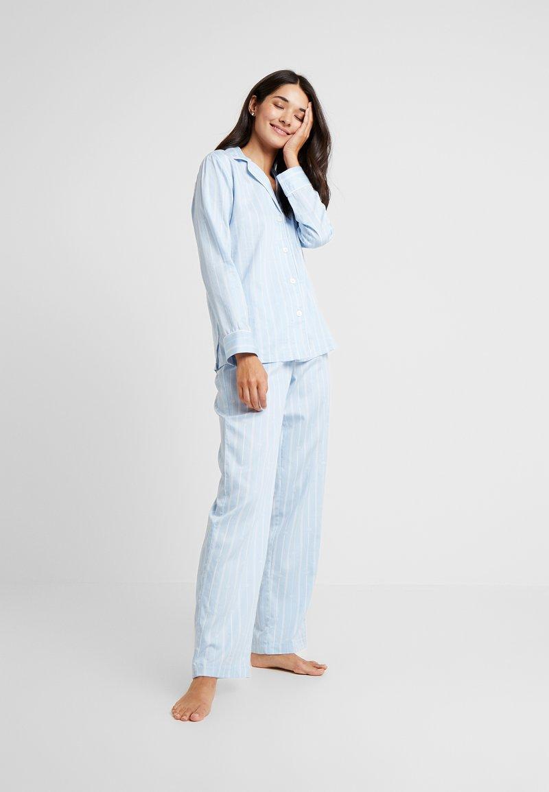 Lauren Ralph Lauren - CLASSIC POINTED NOTCH COLLAR LONG PANT SET - Pyžamová sada - blue