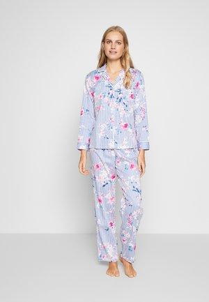 CLASSIC POINTED NOTCH COLLAR LONG PANT SET - Pyžamová sada - blue/multi coloured