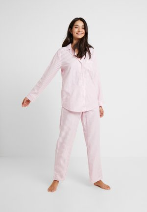 BRUSHED HERRINGBONE POINTED NOTCH COLLAR LONG PANT  - Pyjamas - pink