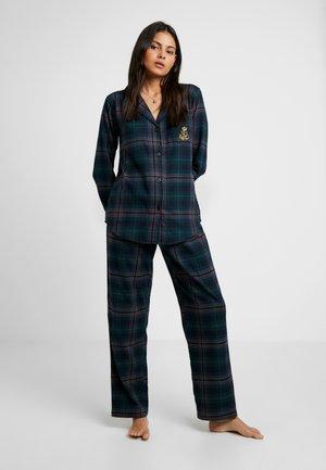 BRUSHED NOTCH COLLAR LONG PANT SET - Pyjamas - green