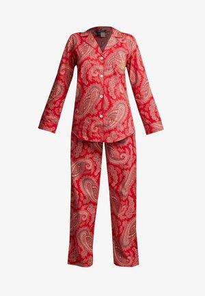 BRUSHED FOLDED NOTCH COLLAR LONG PANT SET - Pyjama - red