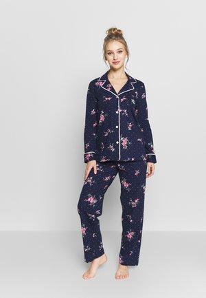 NOVELTY NOTCH COLLAR LONG PANT SET - Pyjama - navy