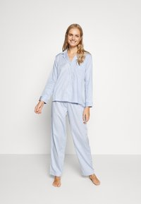 Lauren Ralph Lauren - NOVELTY NOTCH COLLAR LONG PANT SET - Pyžamová sada - blue - 1
