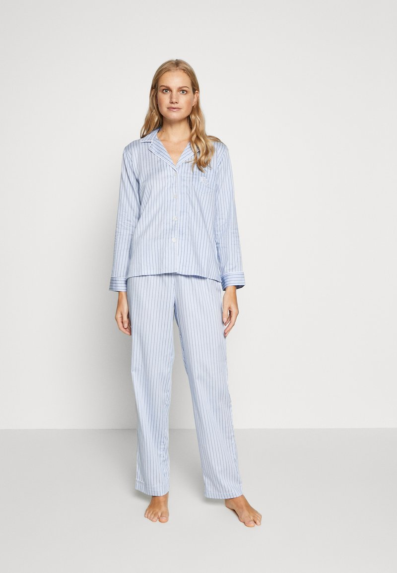 Lauren Ralph Lauren - NOVELTY NOTCH COLLAR LONG PANT SET - Pyžamová sada - blue
