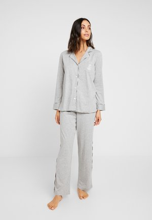 PLAID TRIMMED NOTCH COLLAR LONG PANT SET - Pyjamas - grey heather