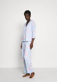 Lauren Ralph Lauren - POINTED NOTCH COLLAR LONG PANT SET - Pyžamová sada - blue - 1