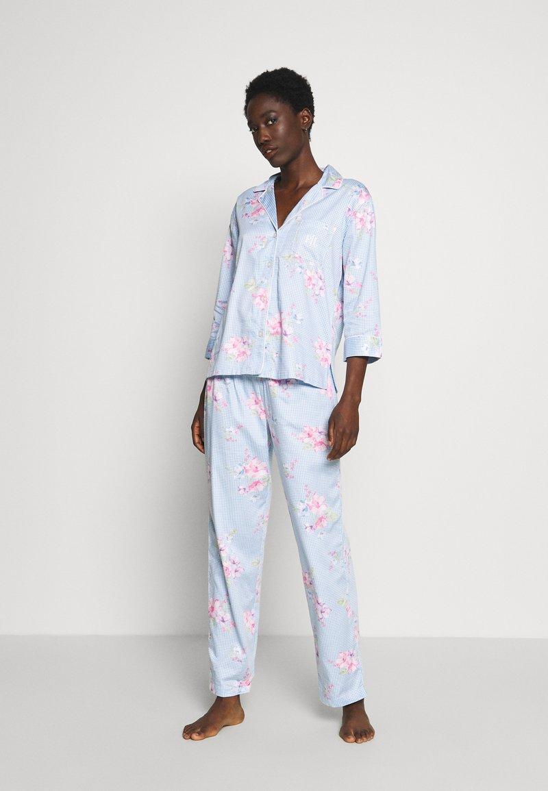 Lauren Ralph Lauren - POINTED NOTCH COLLAR LONG PANT SET - Pyžamová sada - blue