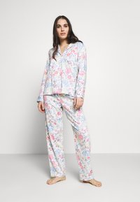 Lauren Ralph Lauren - POINTED NOTCH COLLAR LONG PANT SET - Pyžamová sada - multi-coloured - 0