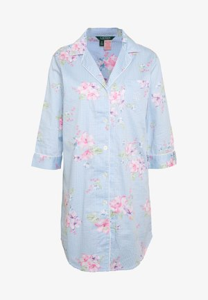 POINTED NOTCH COLLAR SLEEPSHIRT - Noční košile - blue/light pink