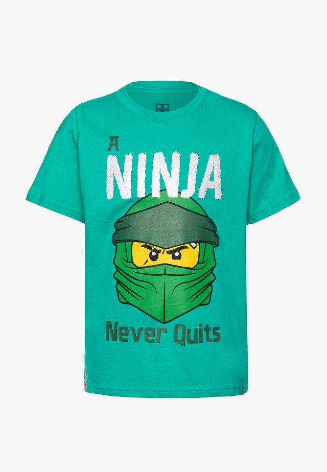 T-shirt con stampa - green melange
