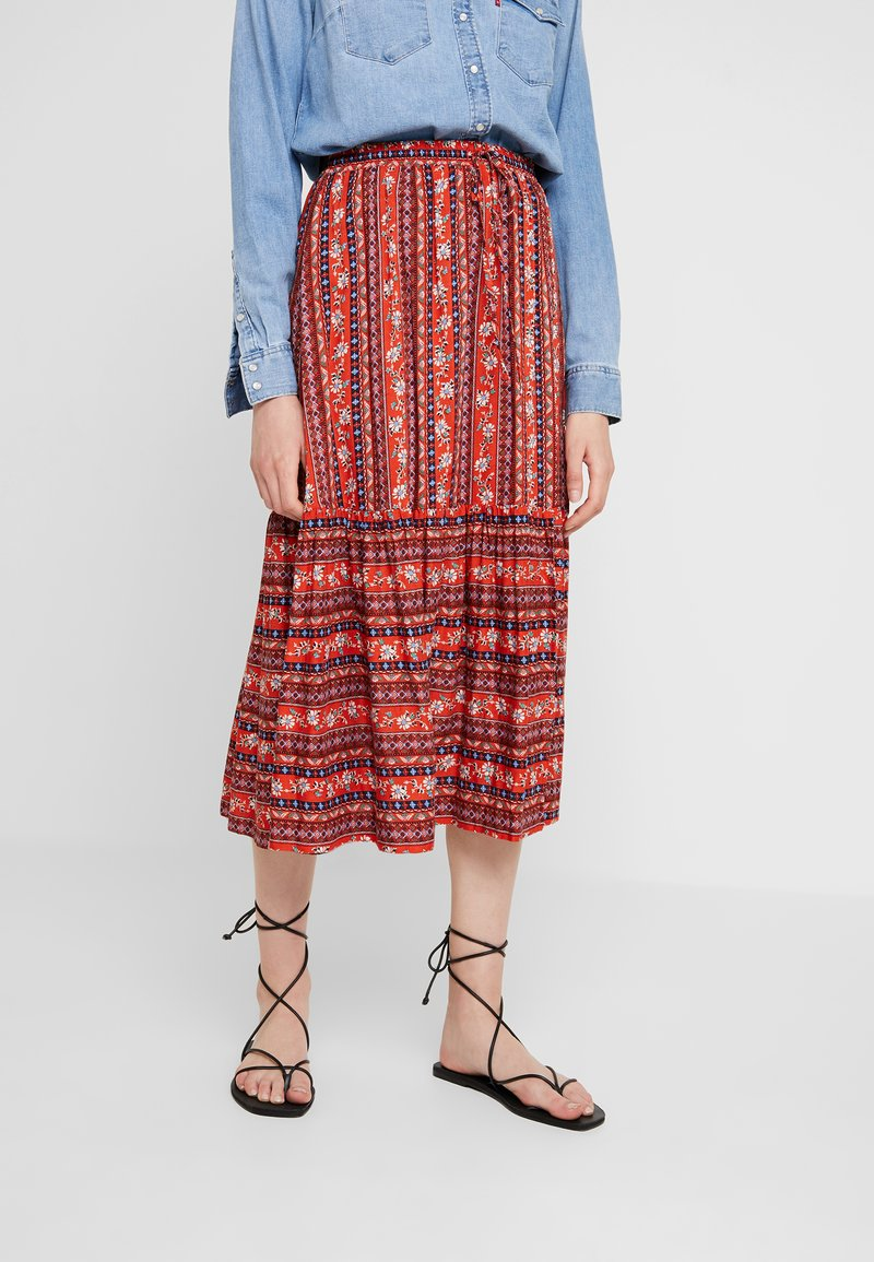 Louche - TIMO FOLKSTRIPE - A-snit nederdel/ A-formede nederdele - red