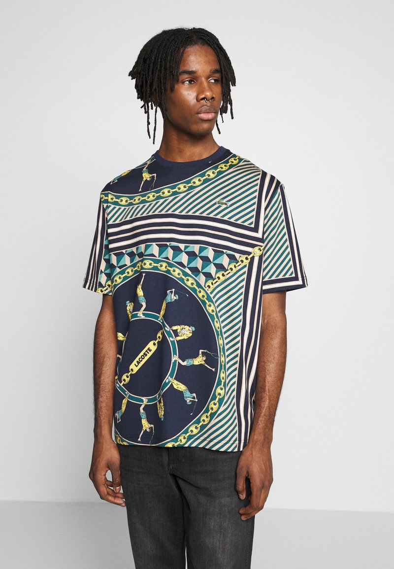 Lacoste LIVE - T-shirts med print - navy blue/multico