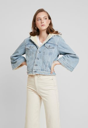 CROPPED SHERPA - Jeansjacka - cloud dancer