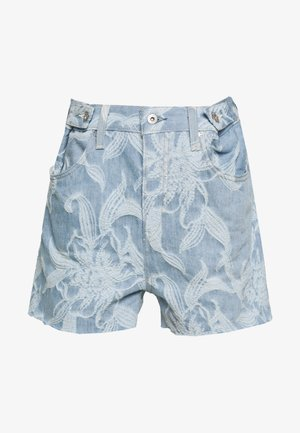 CINCHED TAB - Denim shorts - light blue denim