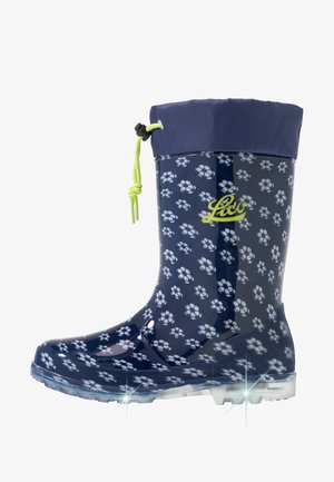 POWER BLINKY - Bottes en caoutchouc - marine/weiss/lemon