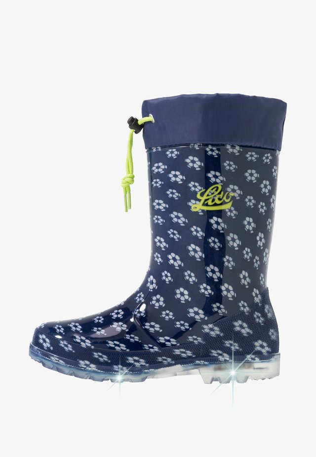 POWER BLINKY - Gummistiefel - marine/weiss/lemon