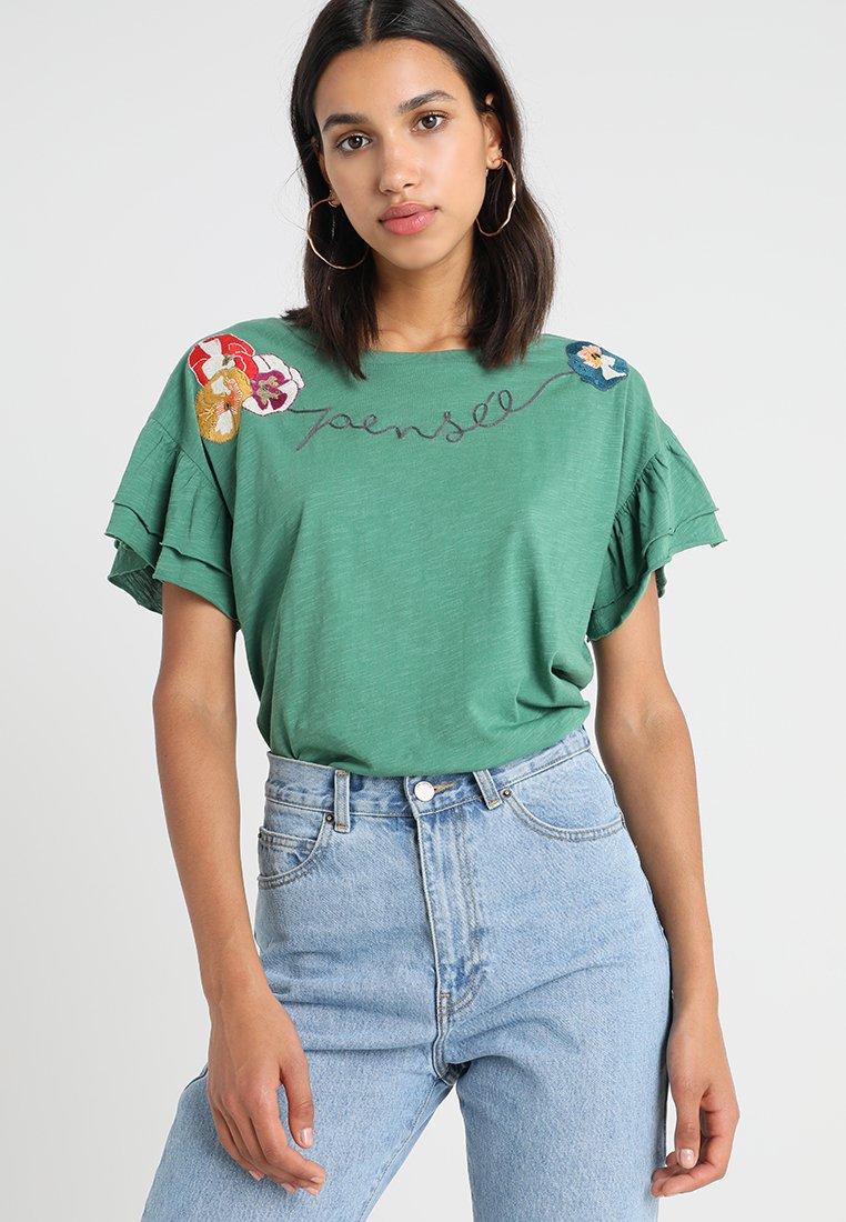 Leon & Harper - TEE MANCHE COURTE FEMME TENTATION  PENSEE - Print T-shirt - green