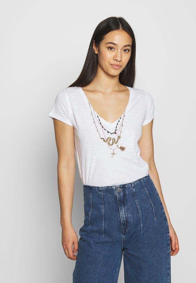 TONTON SNAKE - T-shirt z nadrukiem - white