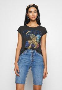 Leon & Harper - TOVA TIGER - T-shirts print - carbone - 0