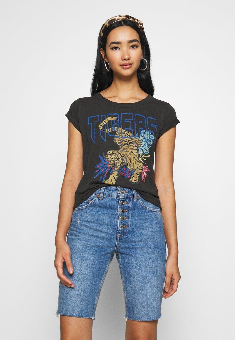 Leon & Harper - TOVA TIGER - T-shirts print - carbone