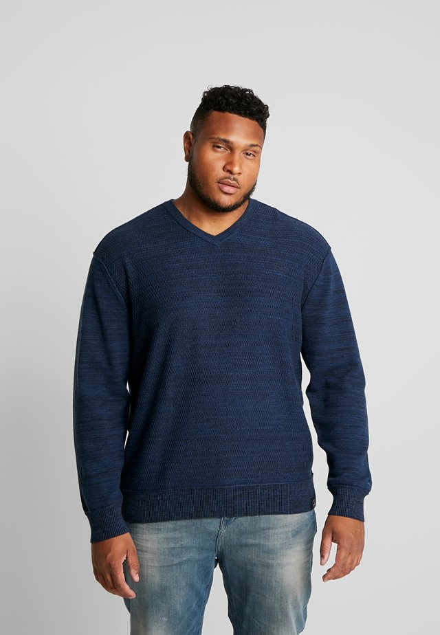 V-NECK TWISTSTRUCTUR - Svetr - navy melange