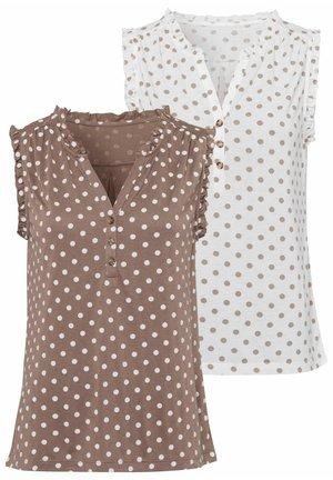Print T-shirt - weiß-gepunktet+taupe-gepunktet