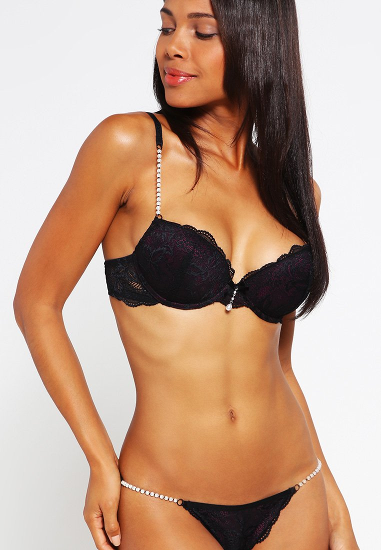 LASCANA - Sujetador push-up - black/eggplant