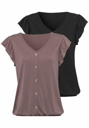 2 PACK - Print T-shirt - taupe+schwarz