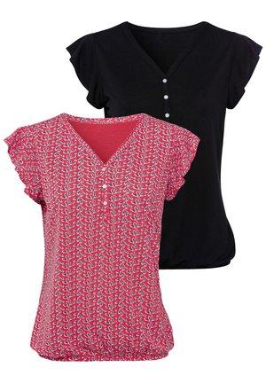 2 PACK - Print T-shirt - rot-gemustert+schwarz