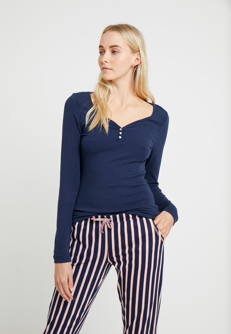 LASCANA - FASHIONABLE NIGHTS LONGSLEEVE - Pyjama top - dark blue