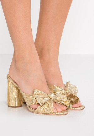 PENNY KNOT MULE - Pantofle na podpatku - gold