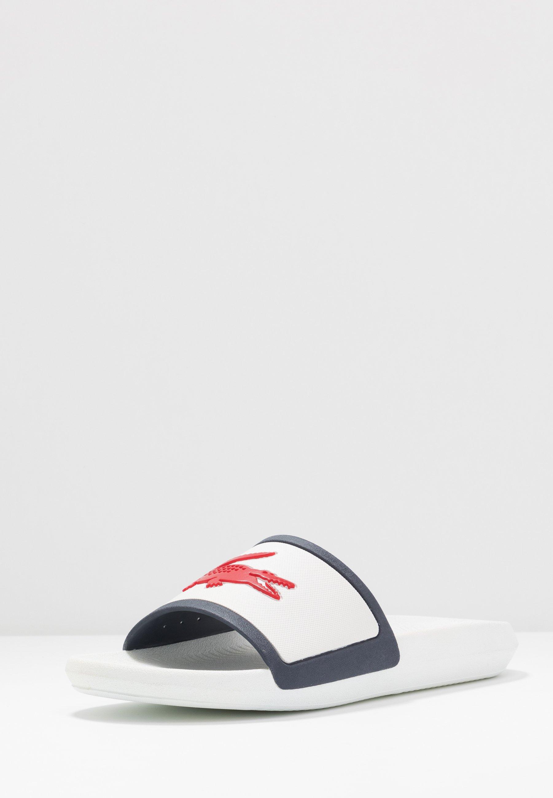 Lacoste CROCO SLIDE - Badesandaler - white/navy/red