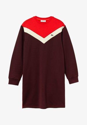 Robe pull - bordeaux / beige / rouge