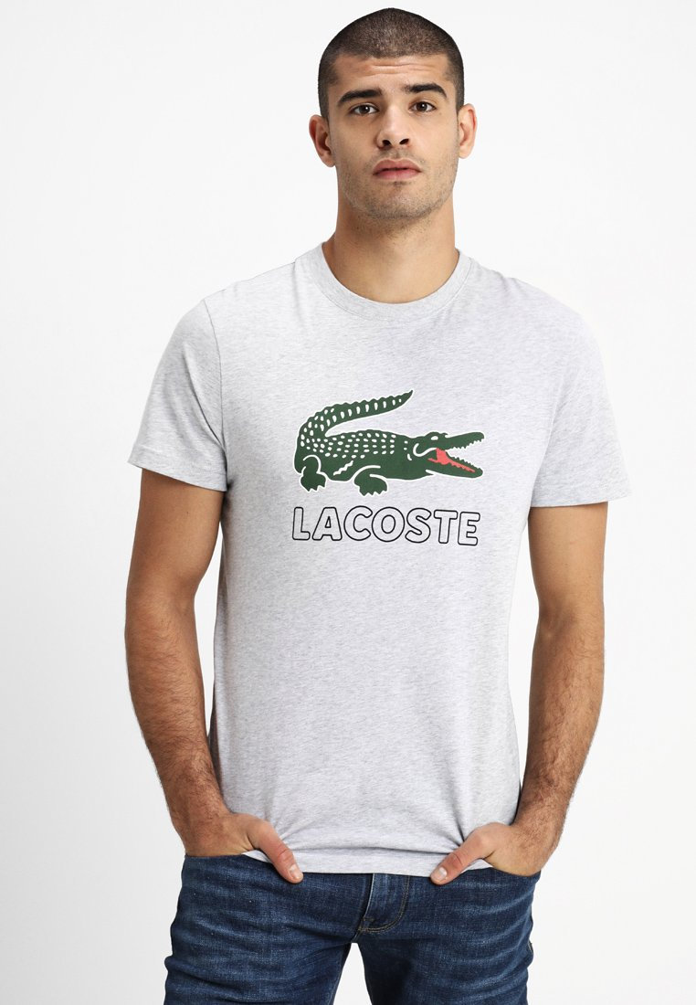 Lacoste - T-shirt med print - silver chine