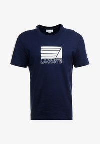 Lacoste - T-shirt med print - marine/blanc - 3