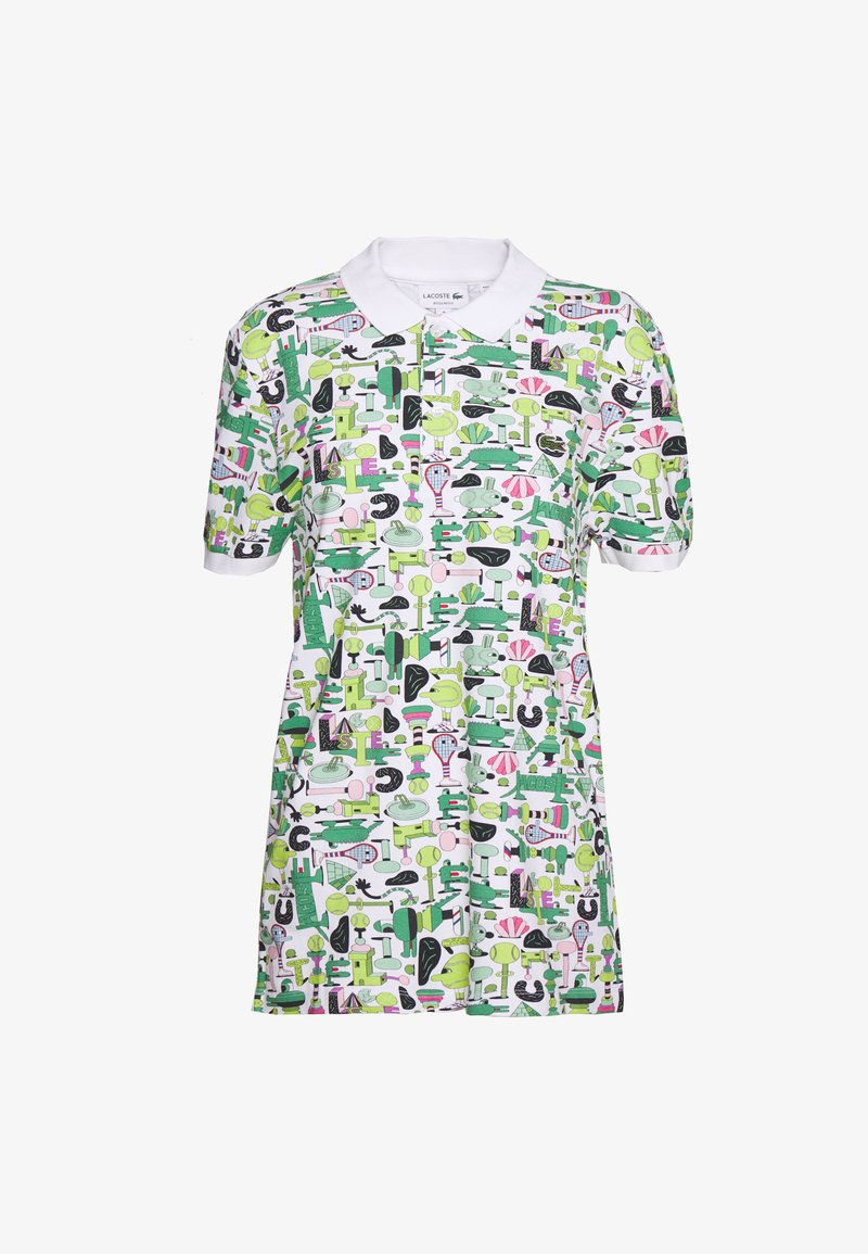 Lacoste - Unisex Lacoste x Jeremyville Print Regular Fit Piqué Polo Shirt - Poloshirts - blanc/multico