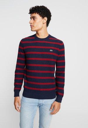 Pullover - navy blue/alizarin