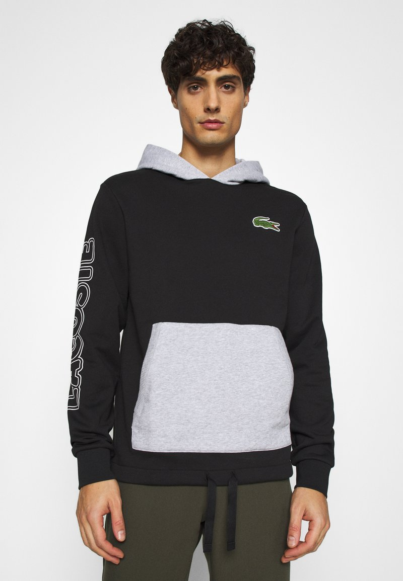 Lacoste - OUTLINE - Hoodie - noir/argent chine